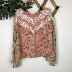 Sugar Lips Florence Lace Bell Sleeve Blouse Top